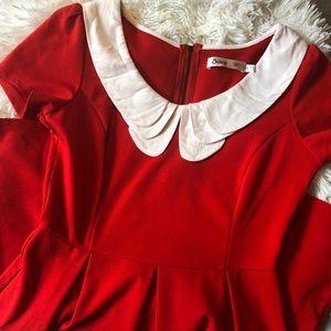 VINTAGE RED CHRISTMAS PETER PAN COLLAR DRESS